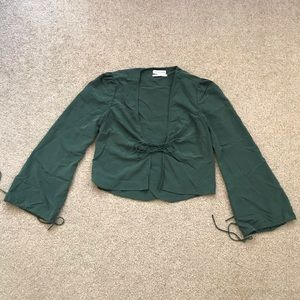 URBAN OUTFITTERS | green tie front blouse